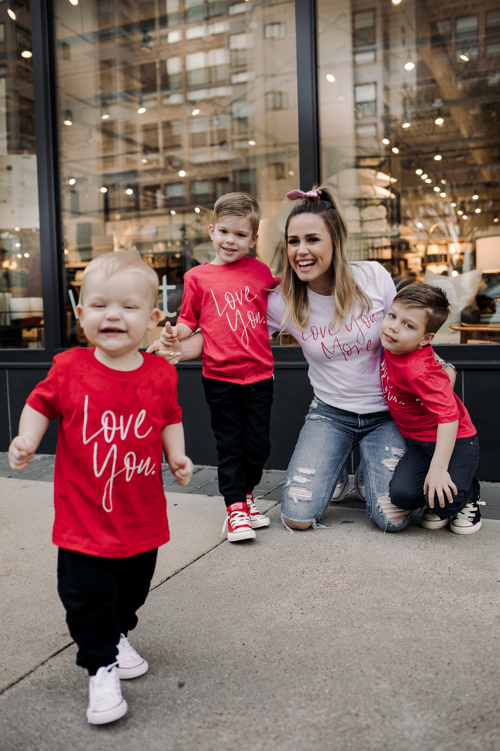 Houston fashion blogger Uptown with Elly Brown wears matching mom and son outfits