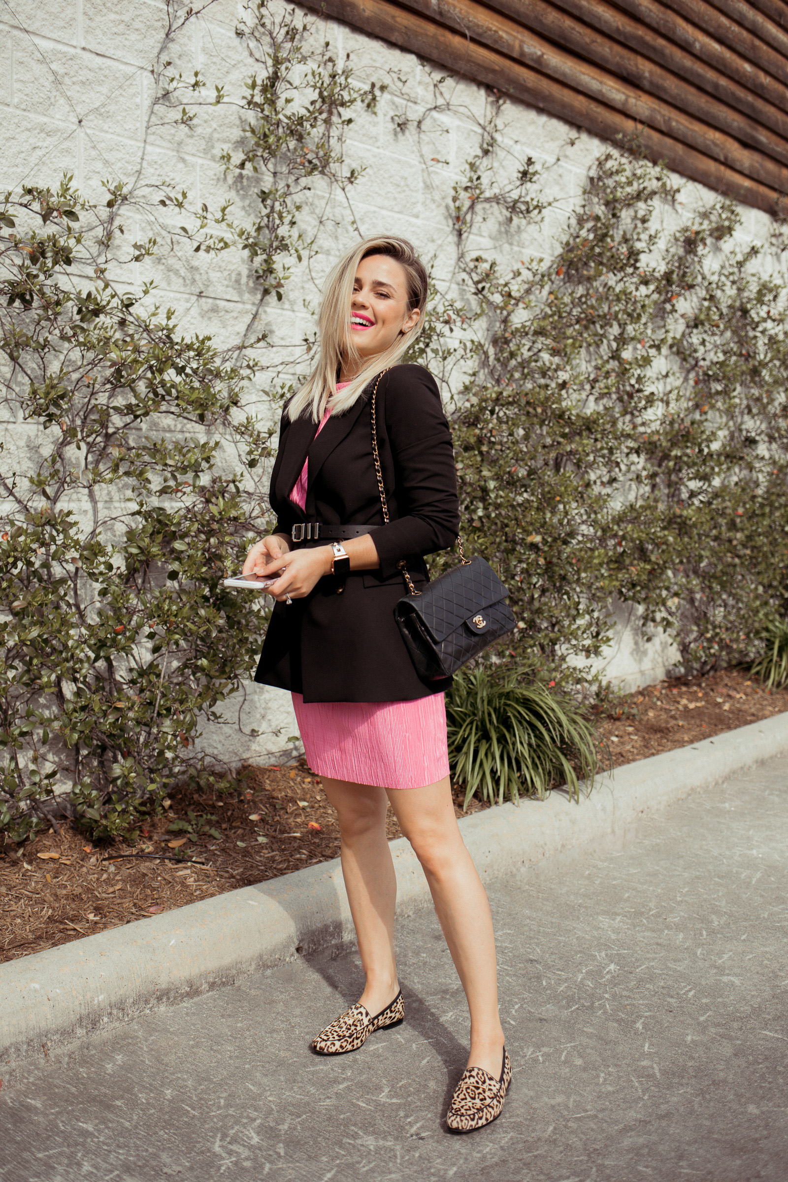 Fashion blogger Elly Brown wears a Neon dress from ASOS casually with leopard loafers and a Topshop blazer