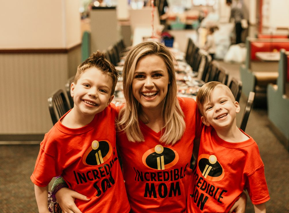 Houston blogger Elly Brown and her family wears matching Incredibles 2 t-shirts for a themed birthday party