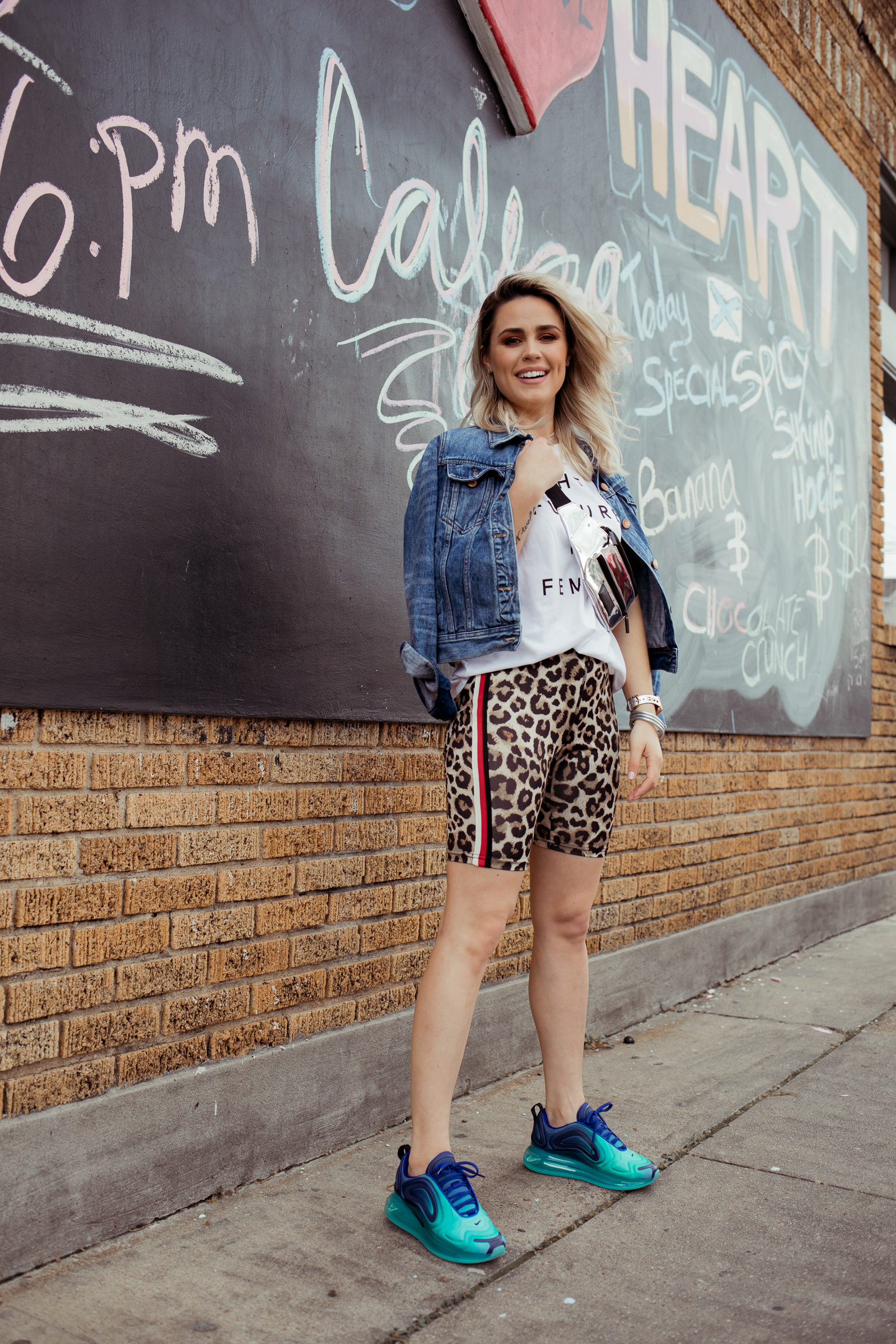 Houston fashion blogger Uptown with Elly Brown wears the New Nike Air Max for women with biker shorts!