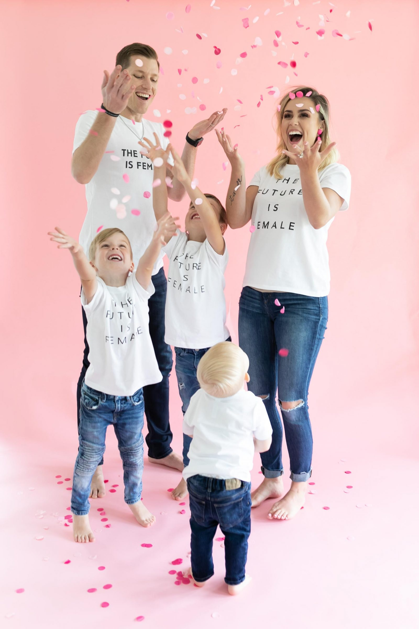 Houston lifestyle blogger Uptown with Elly Brown family all wears the future is female matching tees to announce baby girl