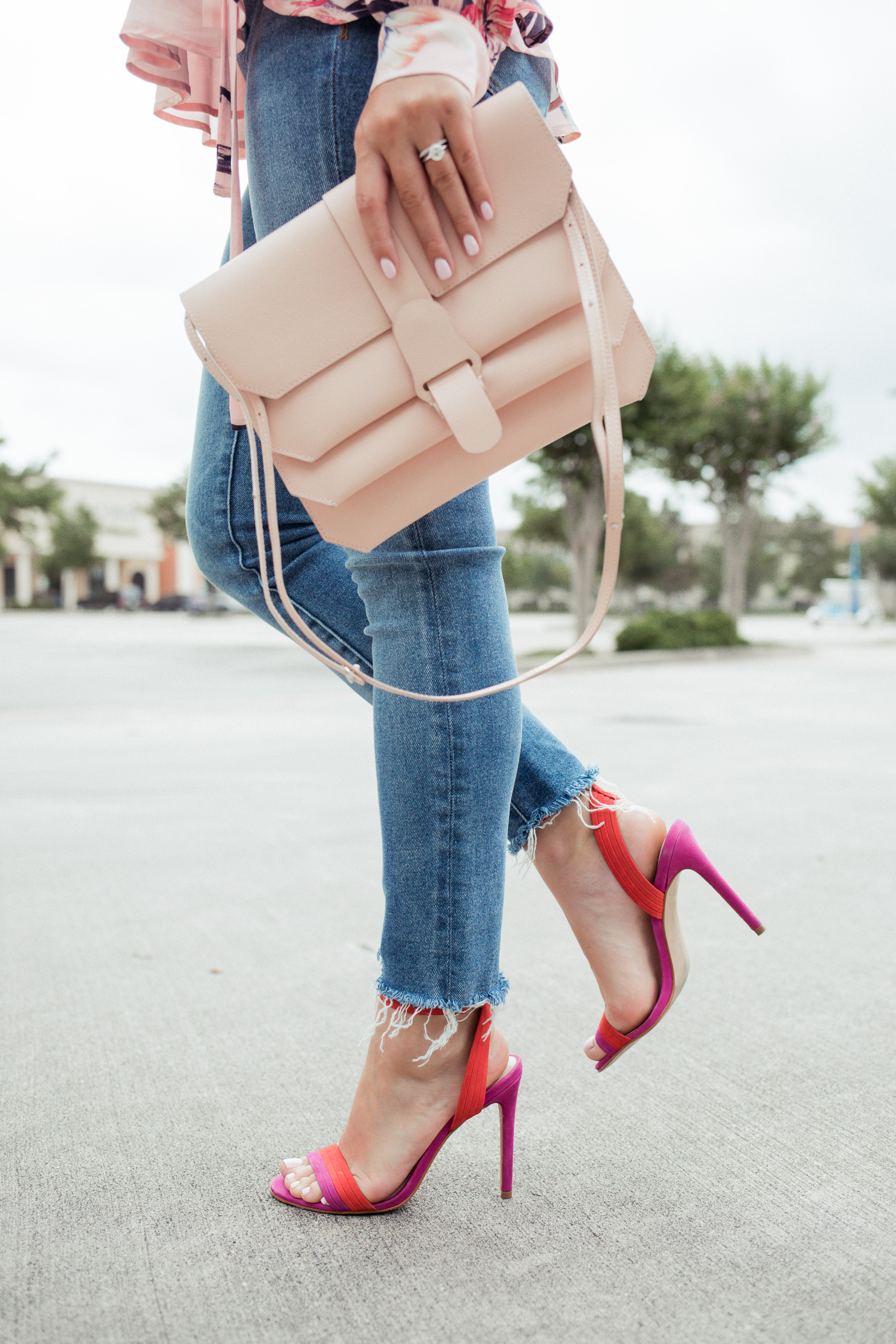 Houston fashion blogger Elly Brown wears bright Summer sandals from Aldo with a Senreve crossbody bag