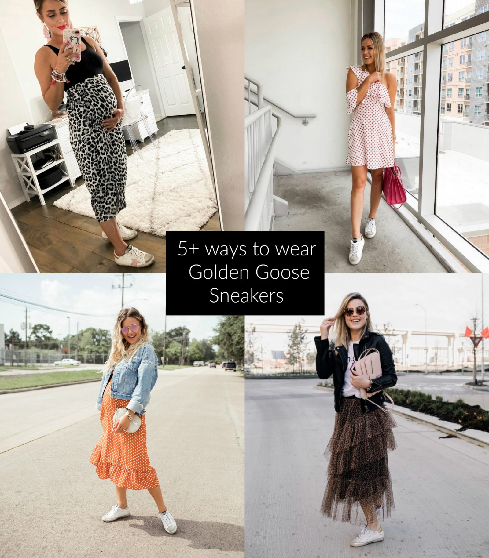 Houston blogger Uptown with Elly Brown shares over 5 different ways on How to Wear Golden Goose Sneakers that are so popular right now!