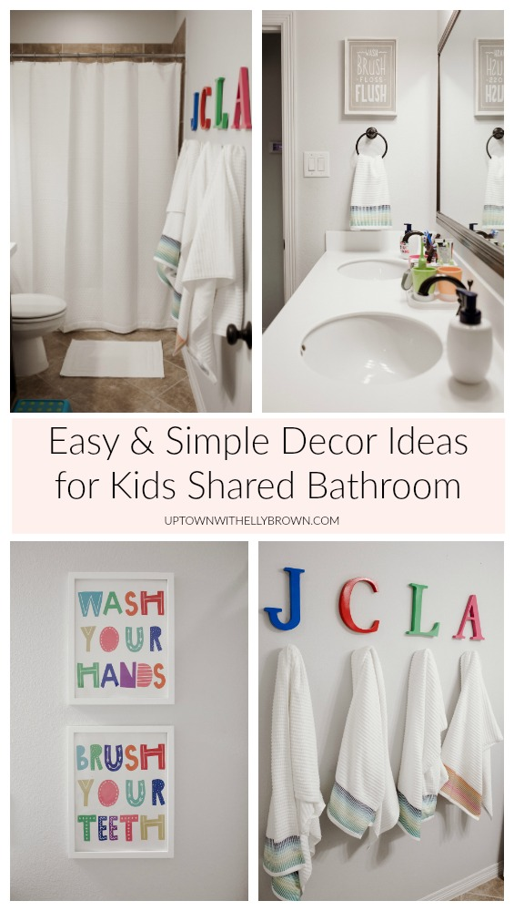 Houston lifestyle blogger Uptown with Elly Brown shares their new simple, and easy Kids Shared Bathroom Decor Makeover. See details here!