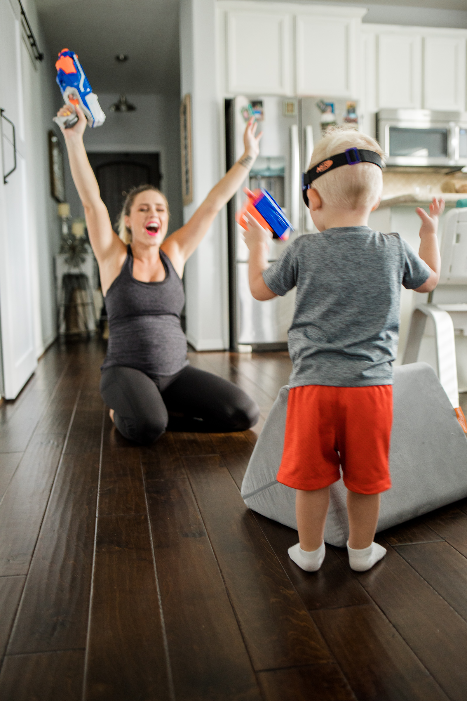 Looking for Indoor activities to beat the heat?Houston lifestyle blogger Uptown with Elly Brown shares how they beat the heat with Nerf War Games!