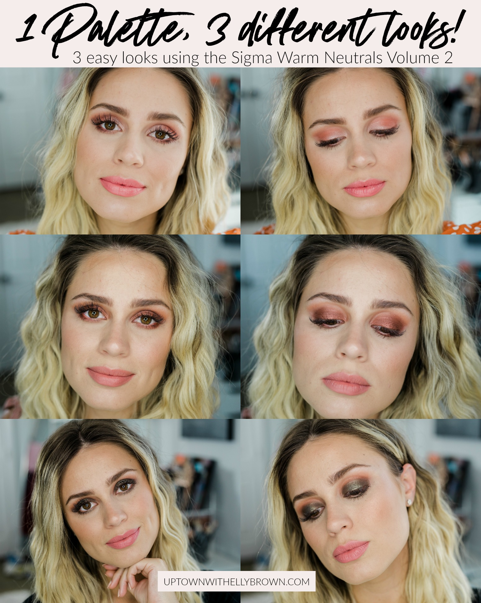 Houston Beauty blogger Uptown with Elly Brown shares 3 EASY ways to use the Sigma Warm Neutrals Volume 2 Palette to get the most for your money!