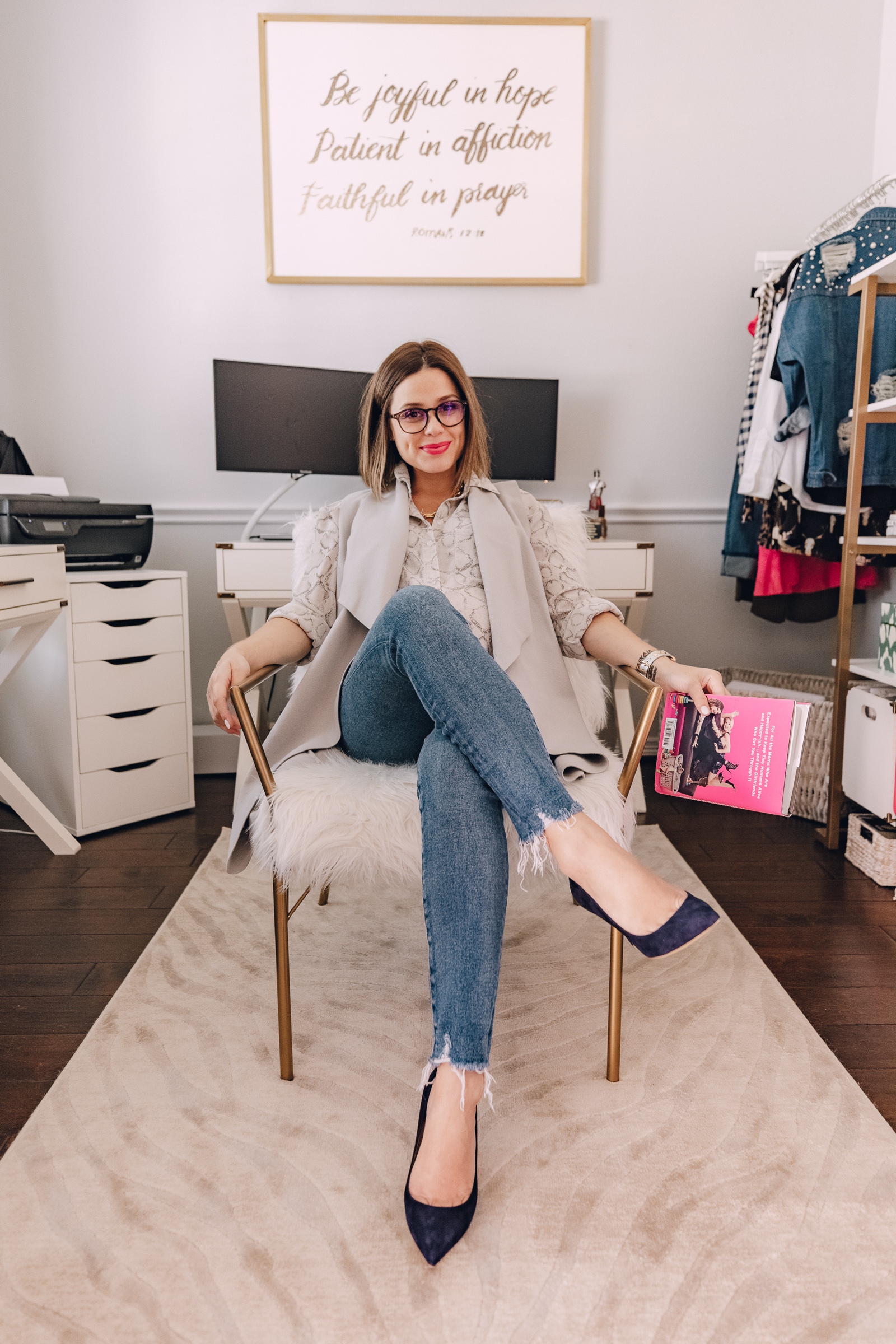 Houston lifestyle blogger Elly Brown shares how she transformed her dinning into a shared office space. See the more of the new Shared Office Decor