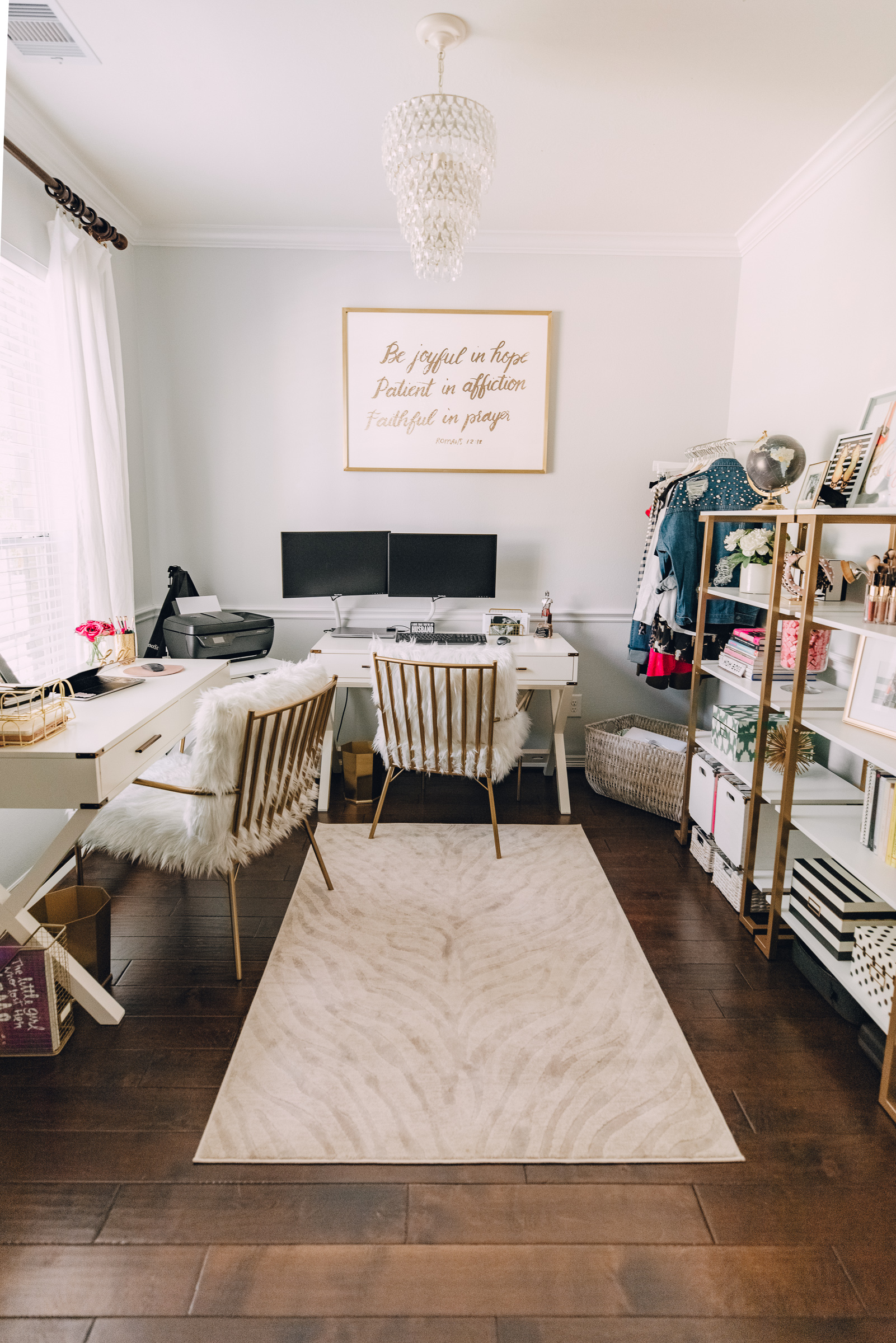 Houston blogger Elly Brown shares her Chic shared office decor with CosmoLiving