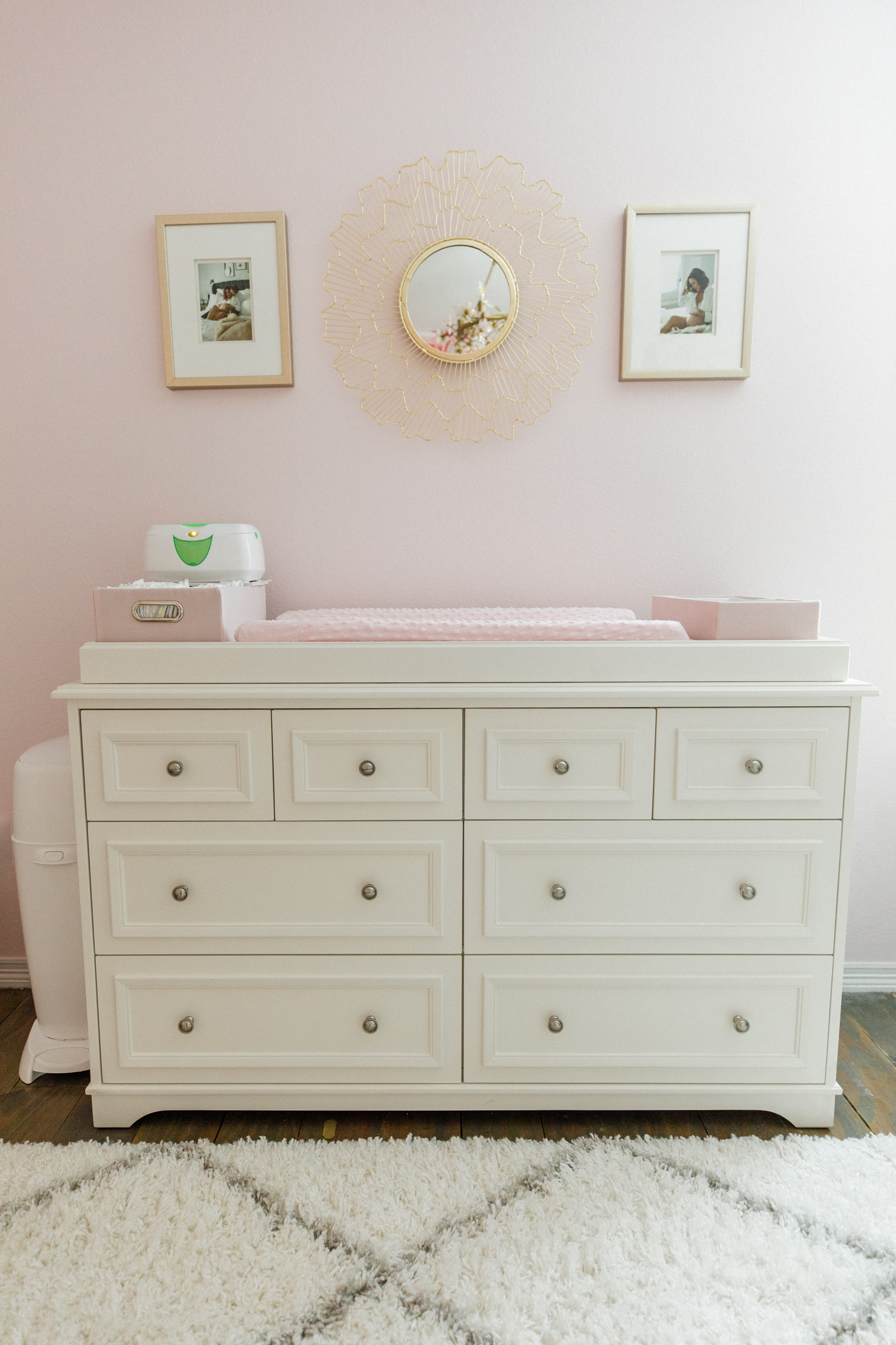 Houston lifestyle blogger Elly Brown shares the baby girl Nursery decor and Pottery Barn dresser