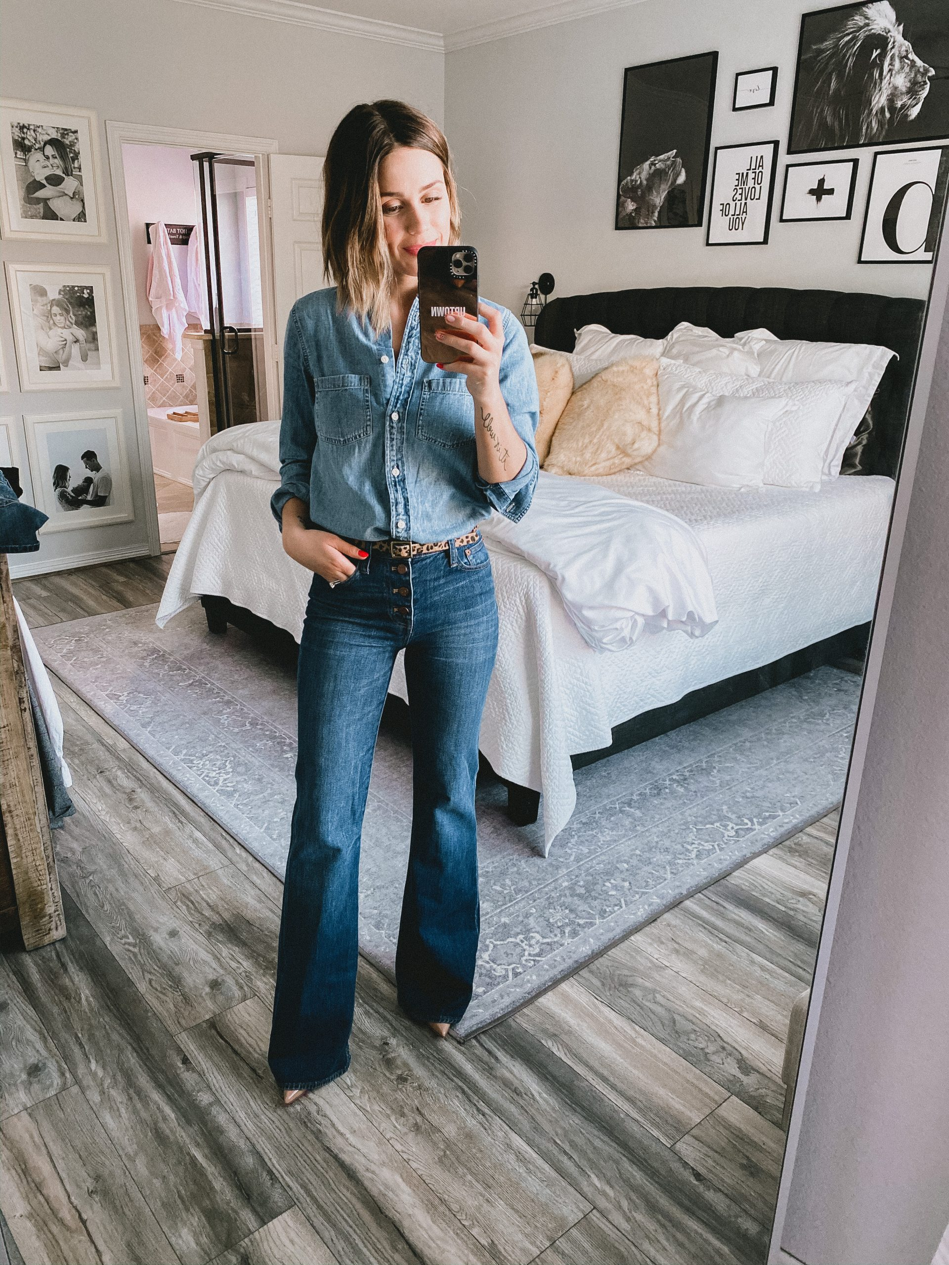 Houston fashion blogger Elly Brown wears a denim on denim outfit thats perfect for date night