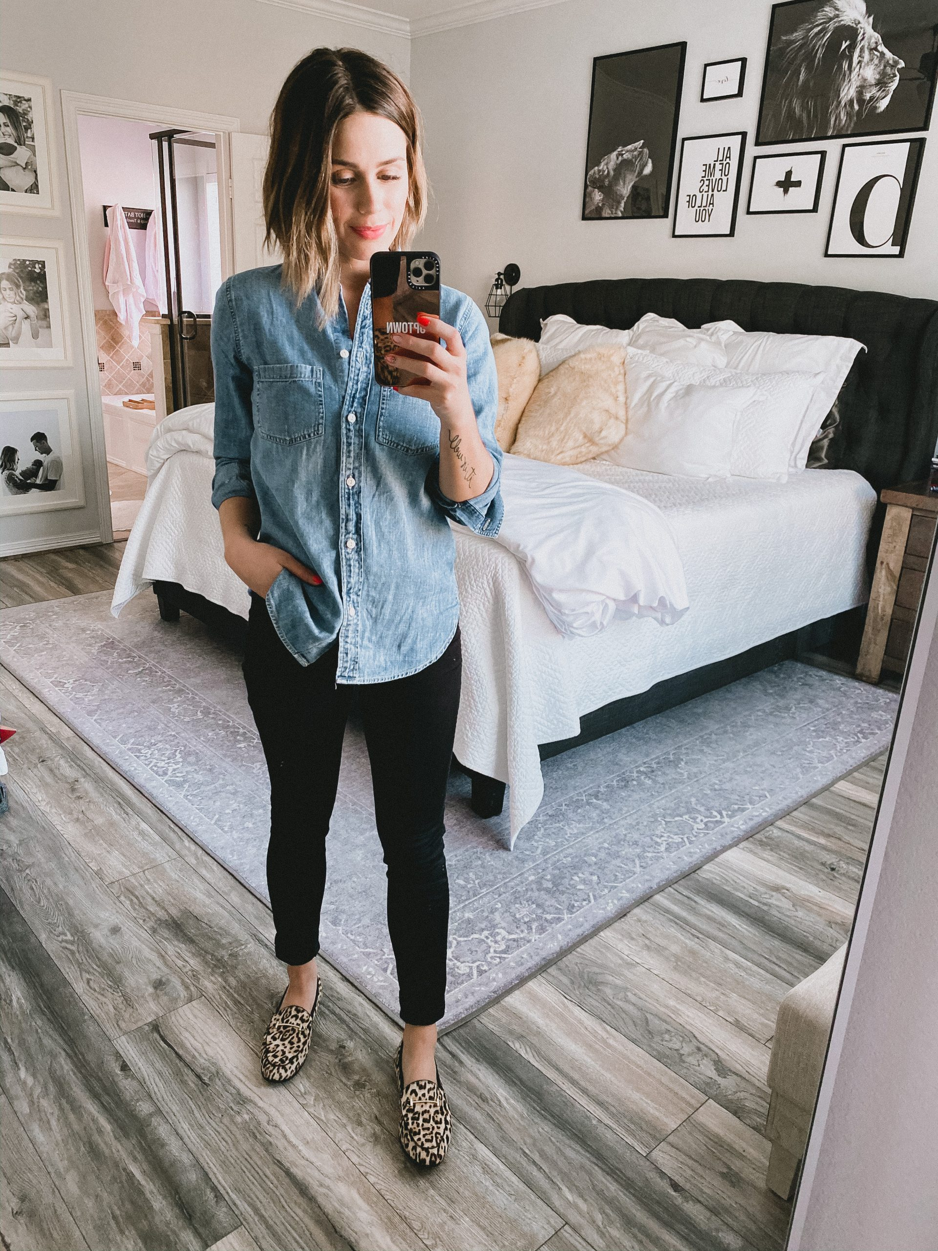 fashion blogger Elly Brown wear Madewell skinny jeans and J.Crew chambray top for a denim on denim outfit