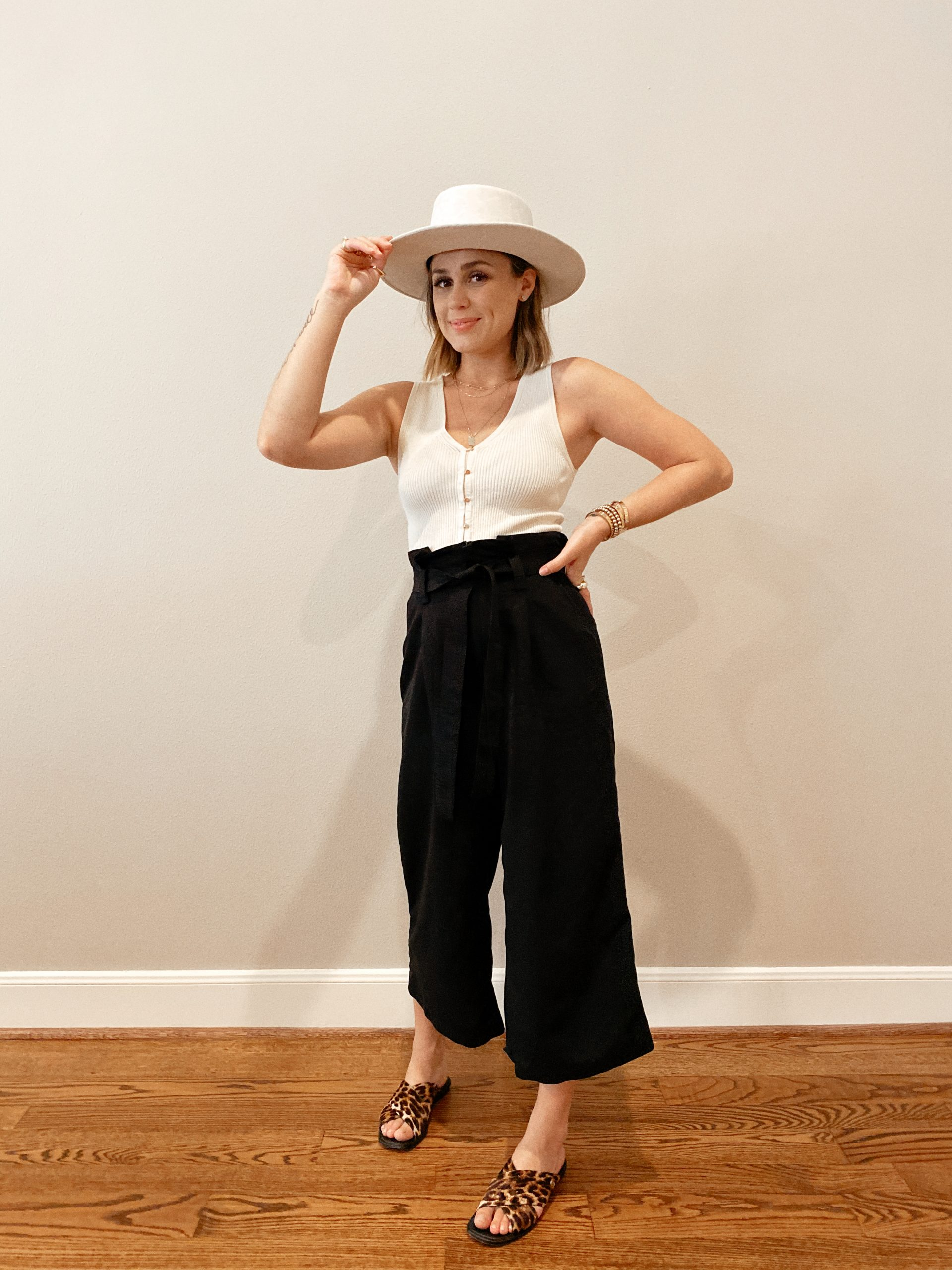 Elly Brown wears paper-bag pants from Target with a knitted top and sandals