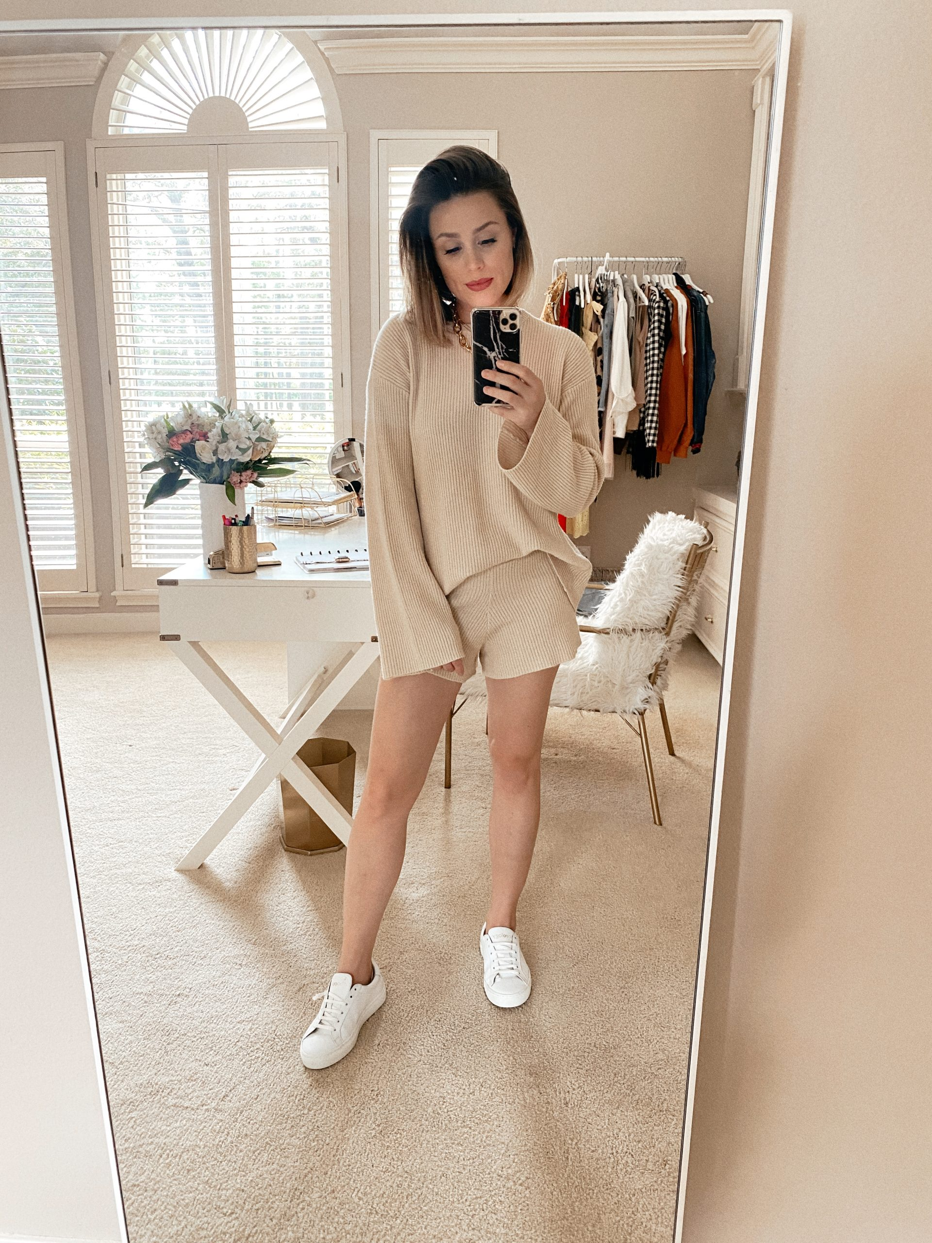 Elly Brown wear a neutral sweater set for under $100 from Amazon
