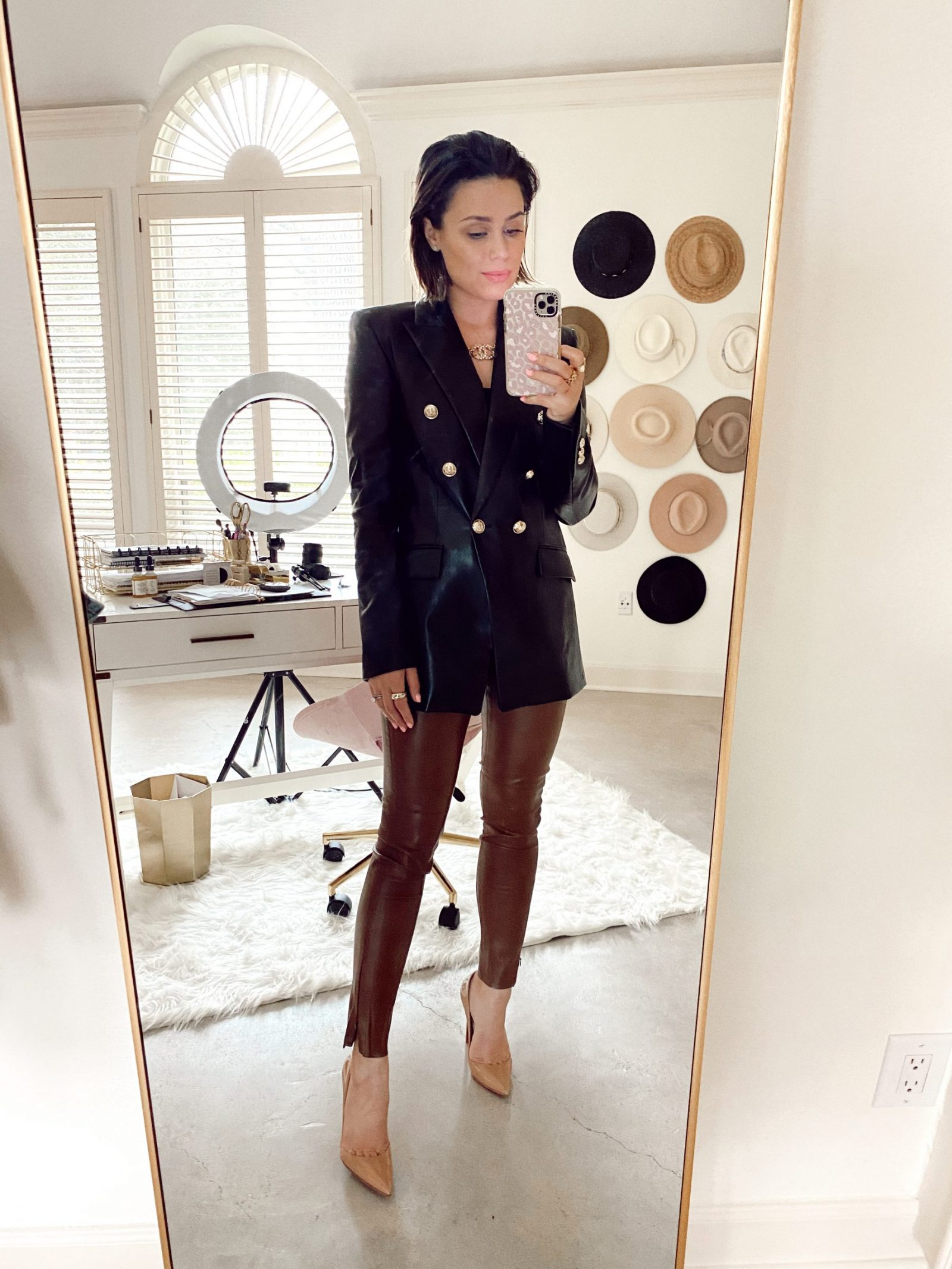 Elly Brown wears Zara faux leather blazer paired with Faux leather pants