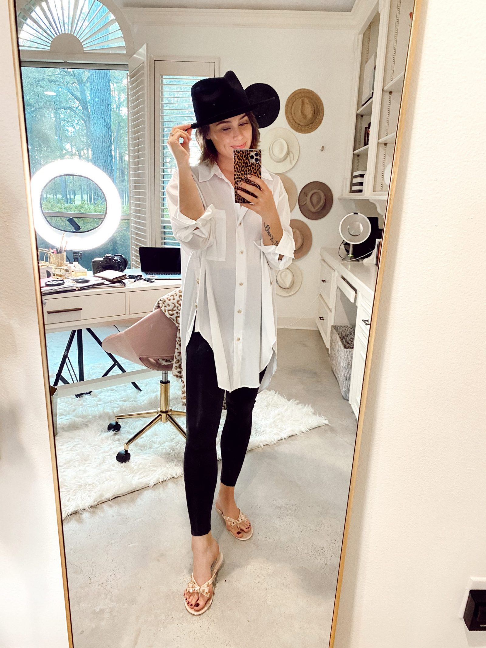 Elly Brown wears oversized button top with leggings for a cozy home OOTD. // GigiPip Hat outfit // Legging outfit inspo