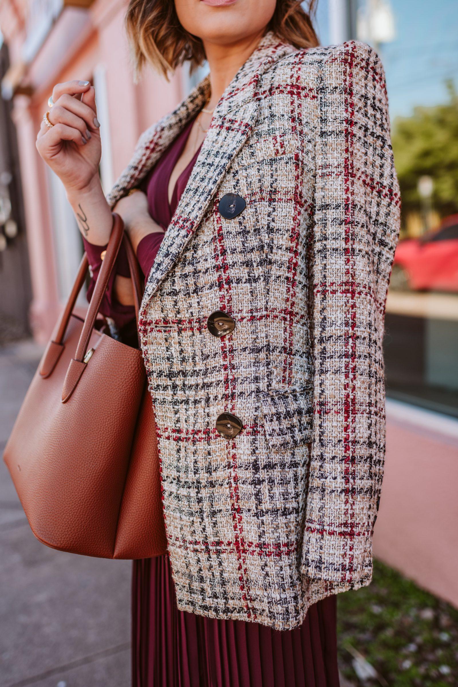 Zara tweed blazer worn with a dress for a winter outfit