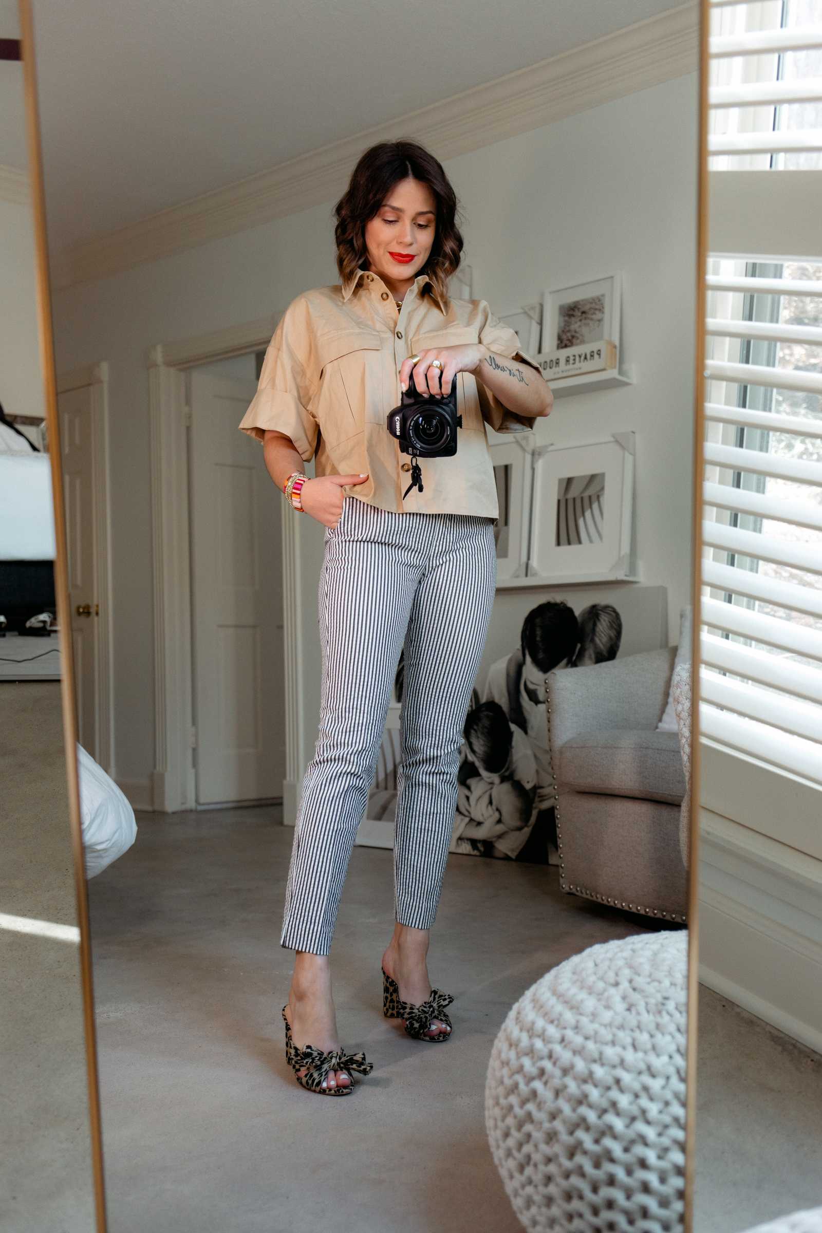 Elly brown wears striped crop pants with leopard heels and a crop top from Zara