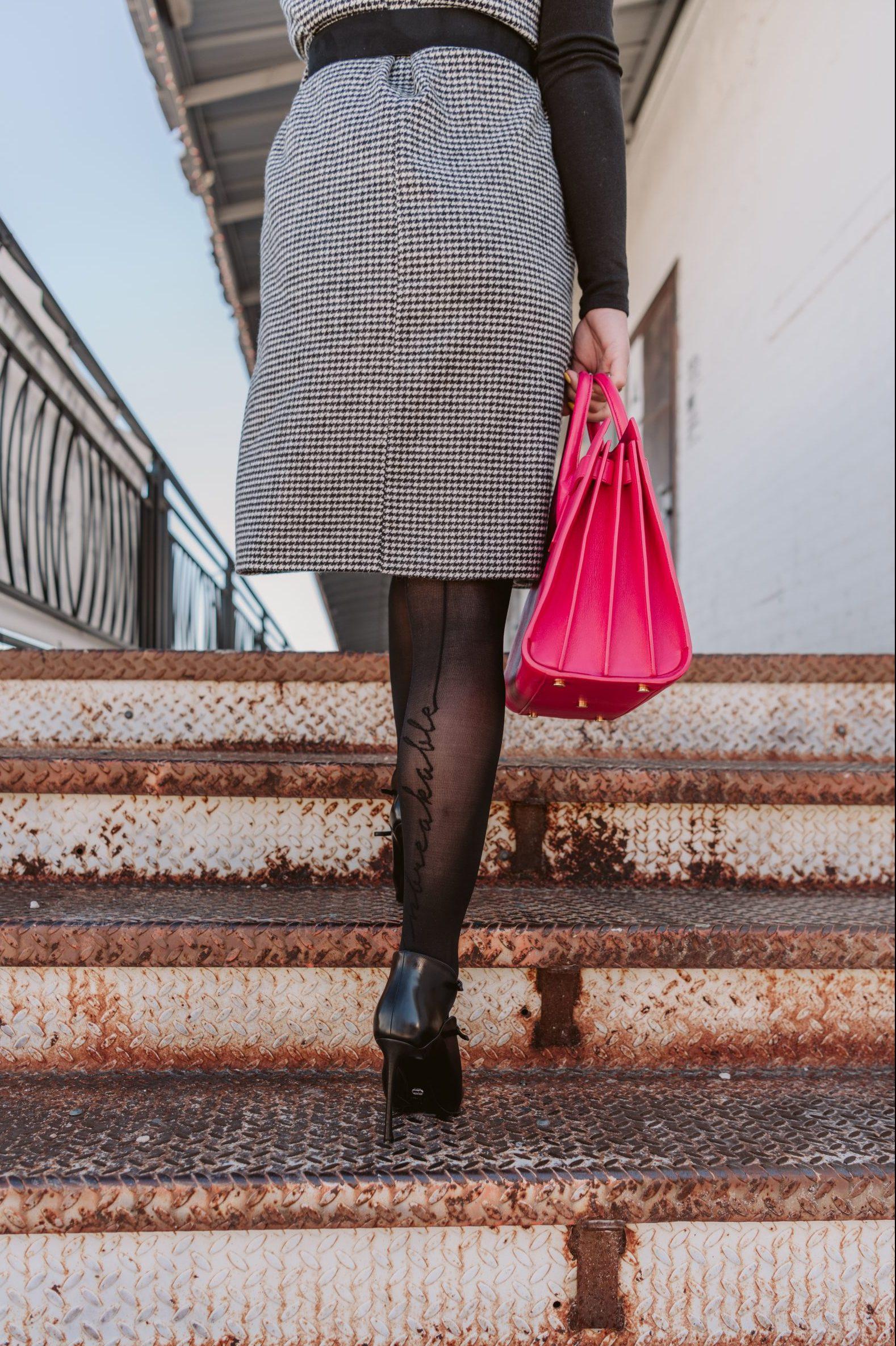 Elly Brown wears Sheertex tights with black heels