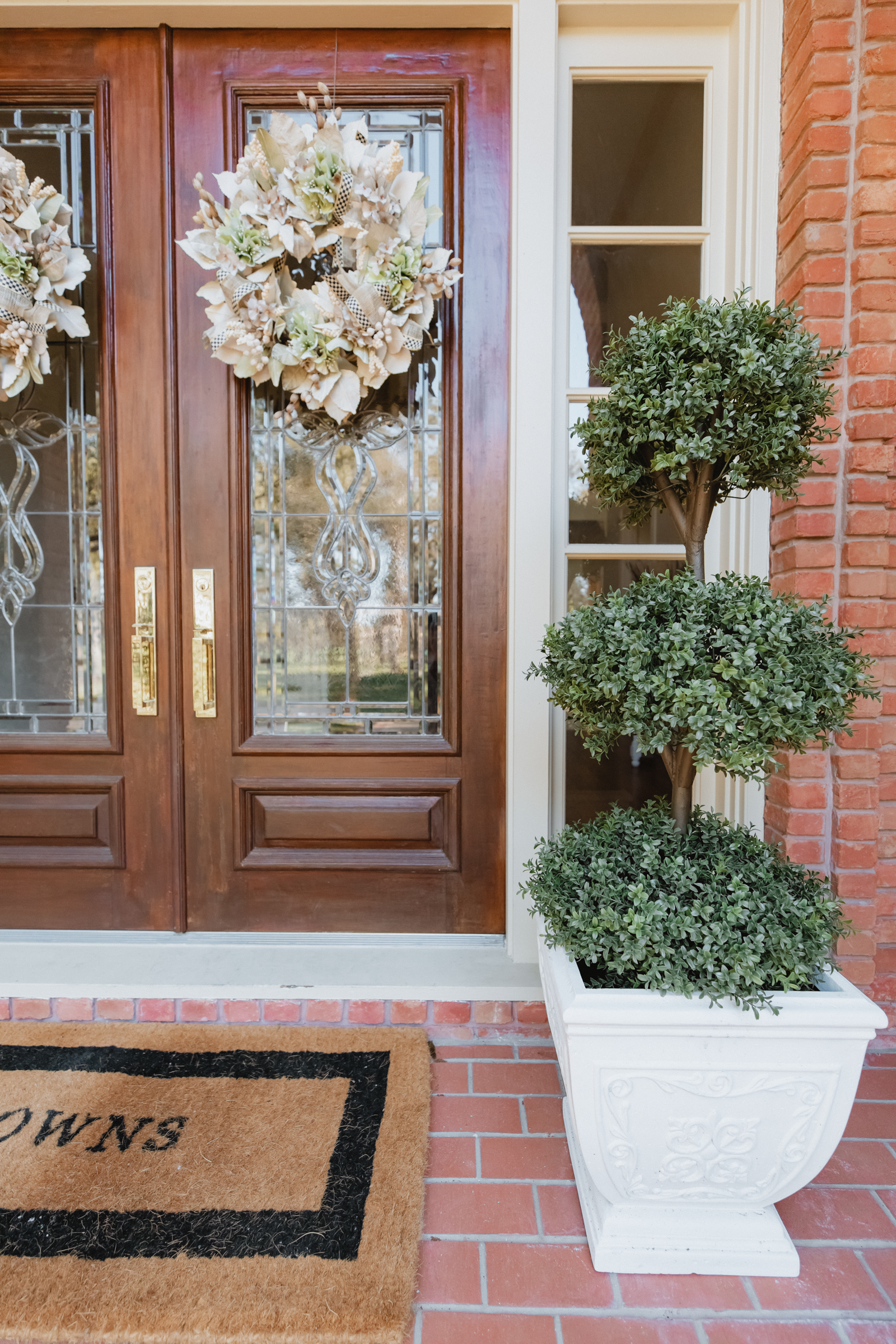Front porch boxwood trees for under $100