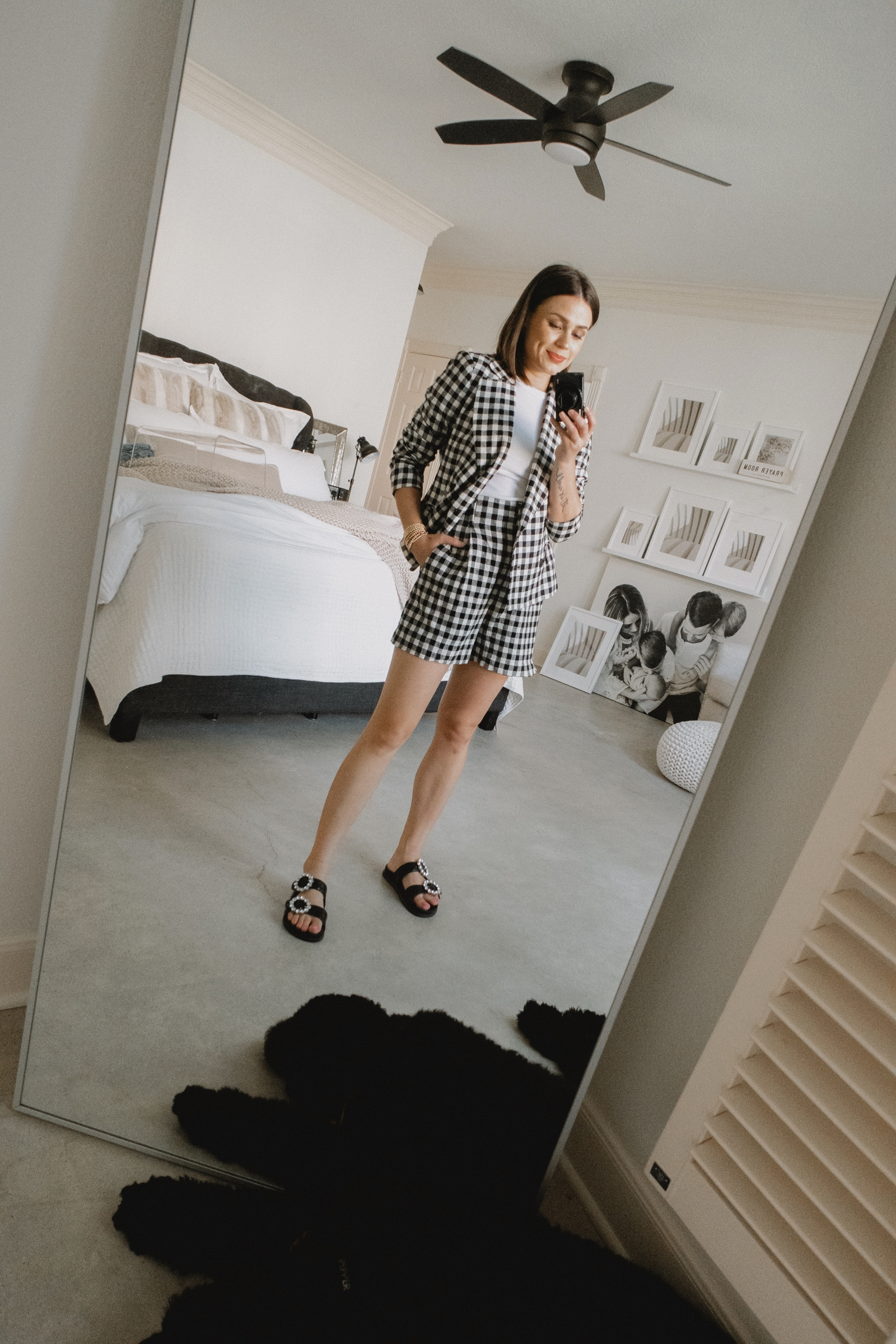 Elly Brown wears a short and blazer gingham set from zara for a summer outfit
