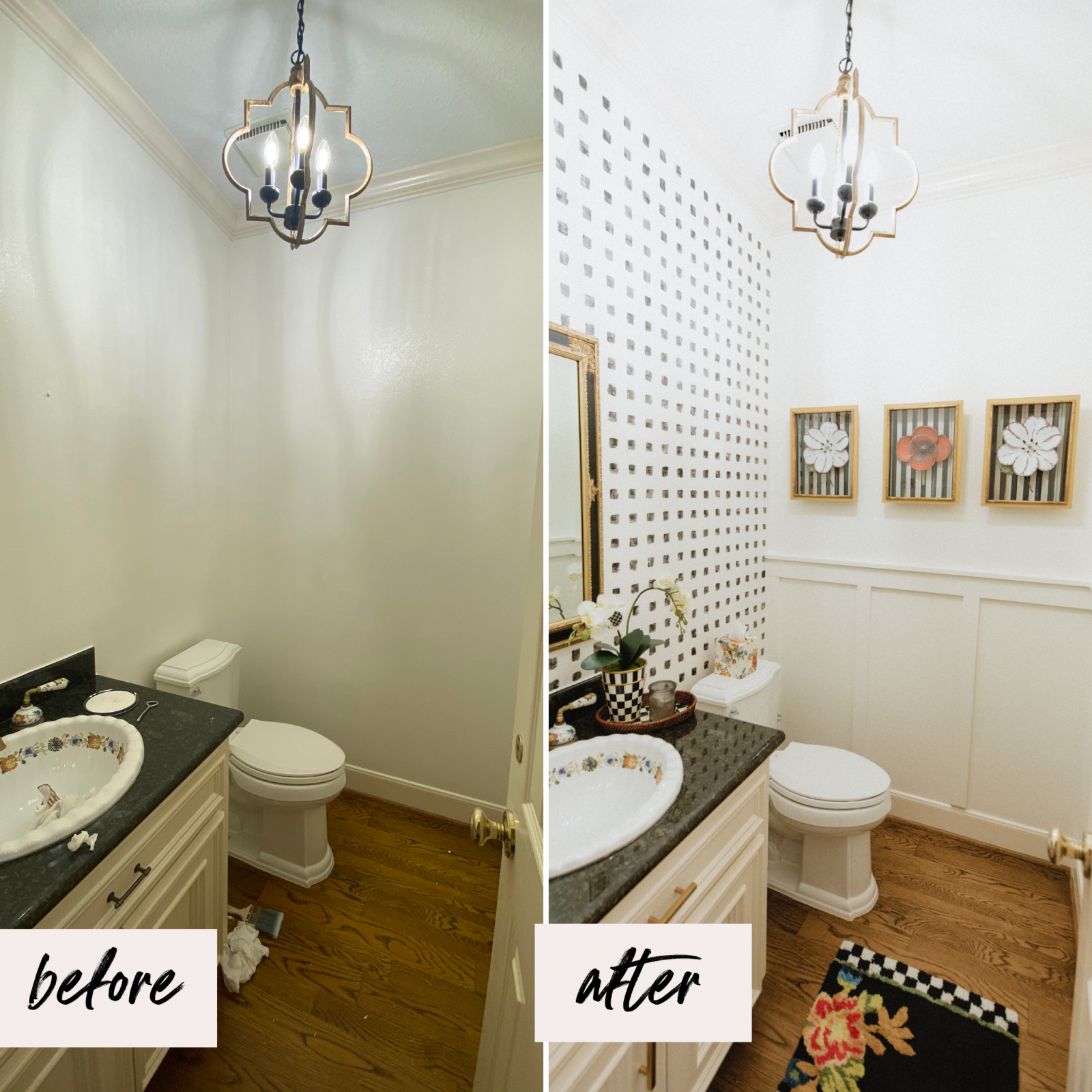 Looking for small Powder Bathroom Ideas? Elly Brown shares her Powder Bathroom Decor and how they gave the space a new land fresh look!
