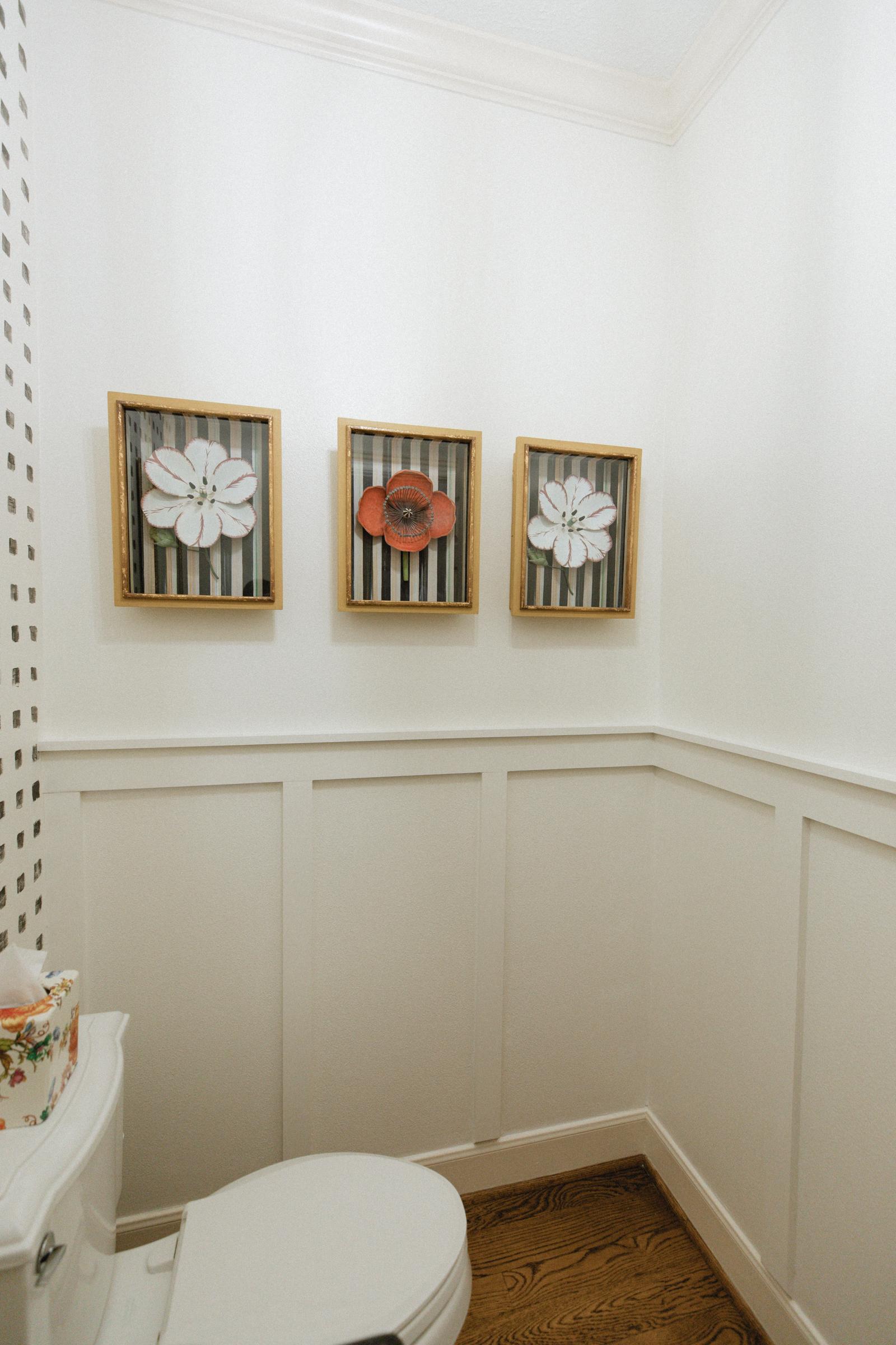 DIY Board and Batten Wall in Small Powder Bathroom