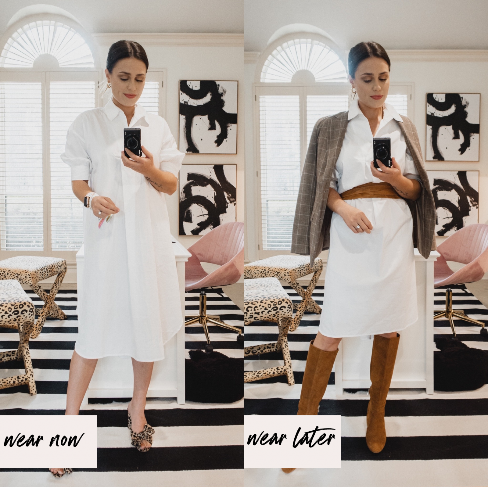 Elly Brown shows how to wear a white dress in the fall with knee hight boots a waist belt and blazer