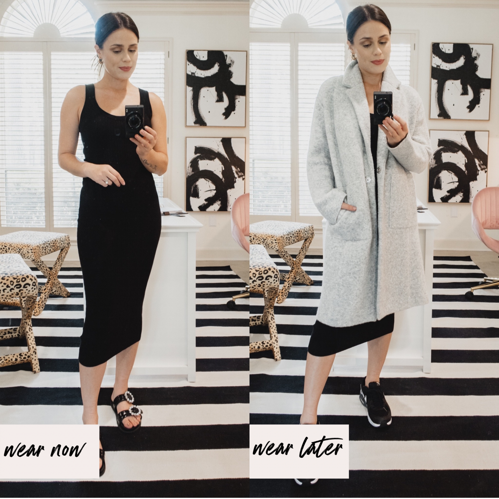 Elly Brown shows how to wear a black midi dress in the fall with a long cardigan and sneakers
