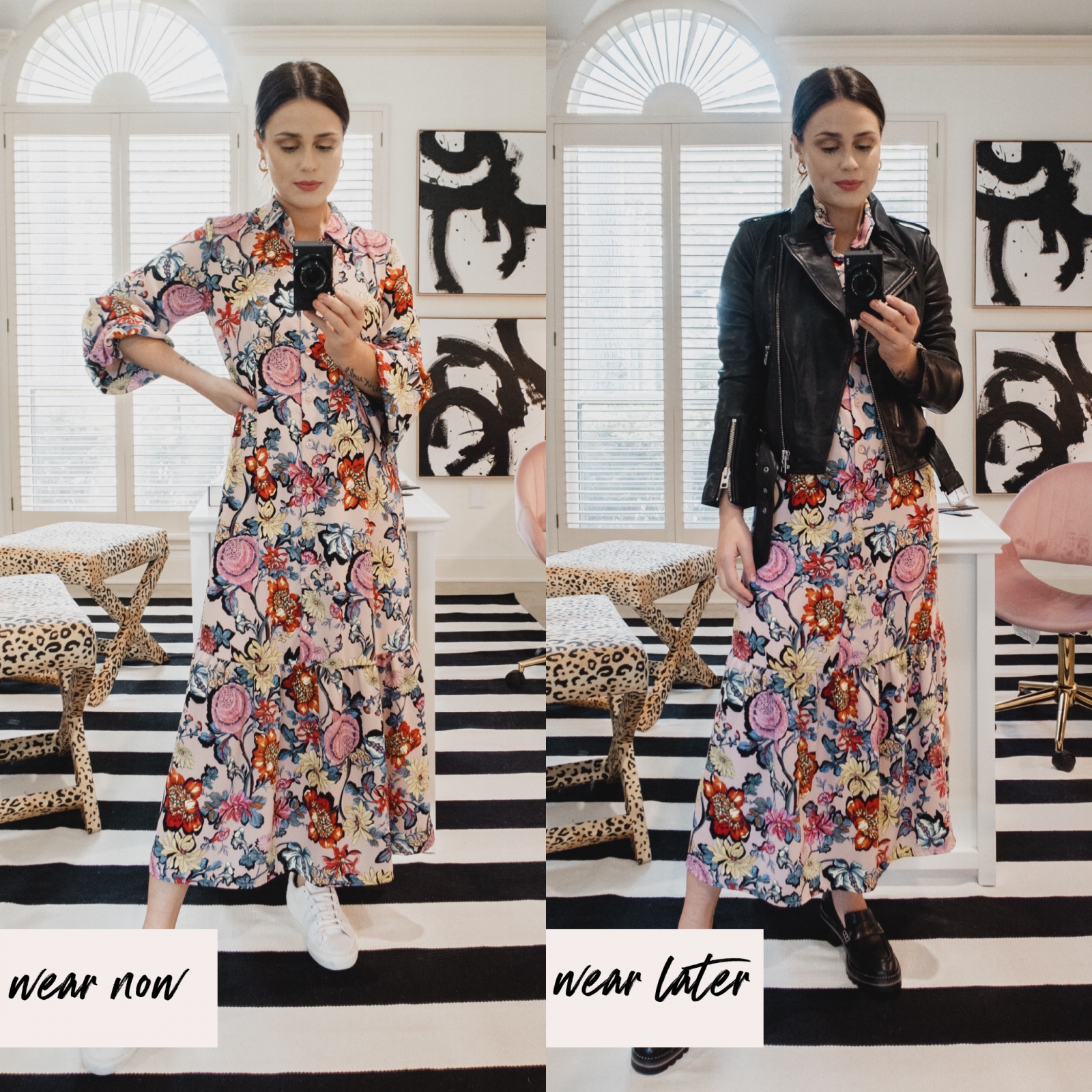 Elly Brown shows how to wear a spring floral dress in the fall with a leather jacket and platform loafers