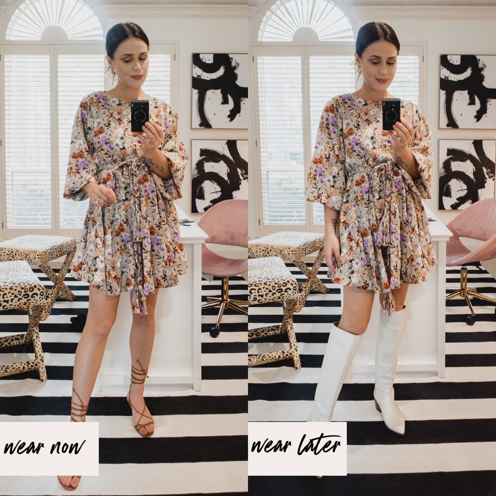 Elly Brown shows how to wear a baby doll floral dress in the fall with knee high cowboy boots