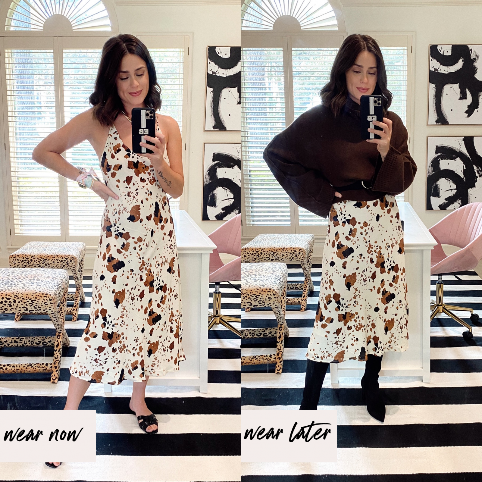 Elly Brown shows how to wear a slip dress in the fall by layering it with a sweater and boots