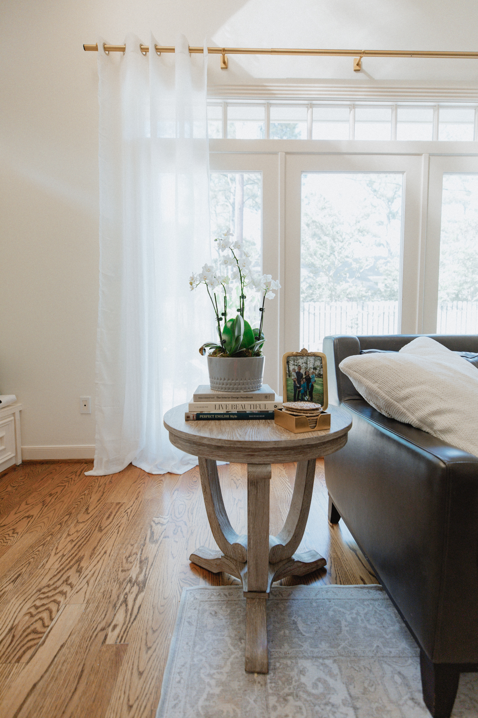 wooden side coffee table for a cozy and warm sunroom decor